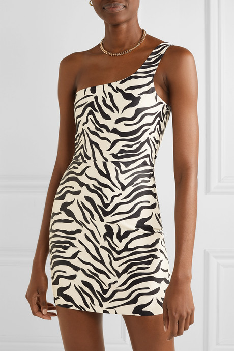 One-shoulder zebra-print leather mini dress
