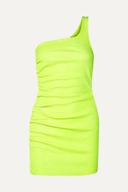 SPRWMN One-shoulder ruched neon leather mini dress