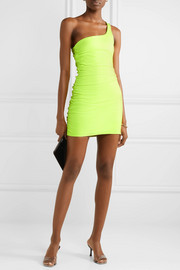 One-shoulder ruched neon leather mini dress
