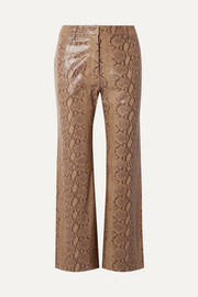 Vianna snake-effect leather flared pants