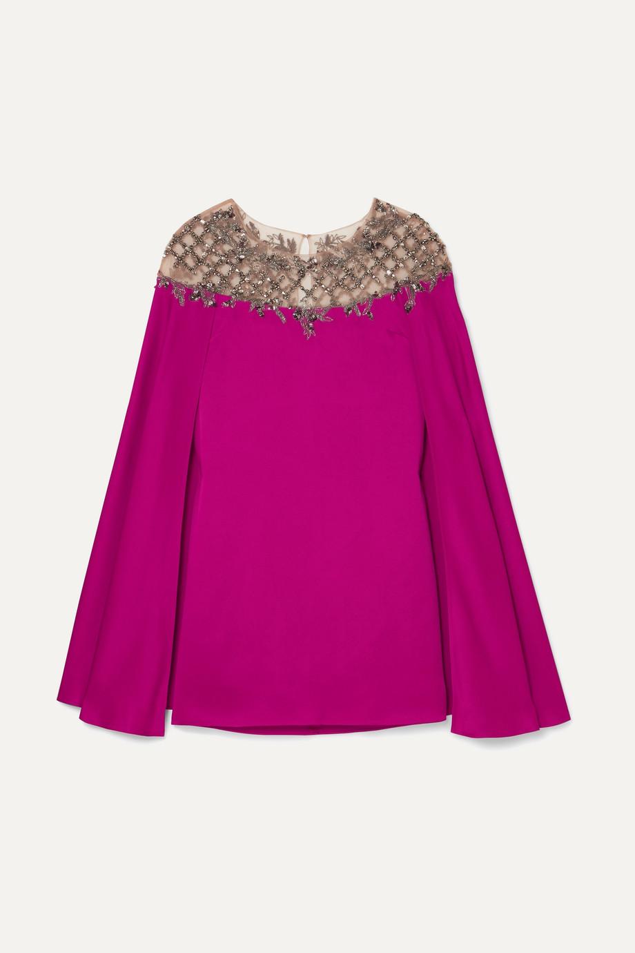 Marchesa | Cape-effect embellished tulle-paneled satin mini dress | NET-A-PORTER.COM