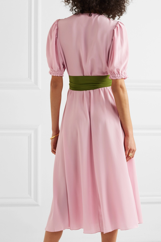 ARoss Girl x Soler Brooke belted silk crepe de chine midi dress