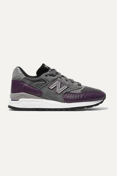 998-suede,-mesh-and-croc-effect-leather-sneakers by new-balance