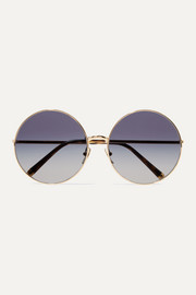 Dolce & Gabbana Round-frame printed acetate and gold-tone convertible sunglasses