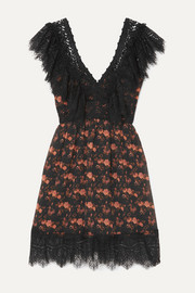 Charo Ruiz Vir crocheted lace-paneled floral-print cotton-blend voile dress