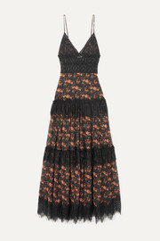 Charo Ruiz Dama crocheted lace-paneled floral-print cotton-blend voile maxi dress