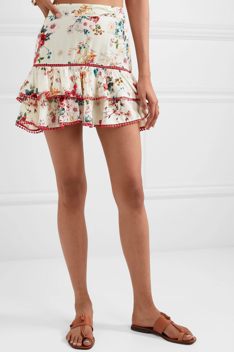 Fera ruffled crocheted lace and floral-print voile mini skirt