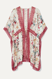 Kayla crocheted lace and floral-print voile kaftan