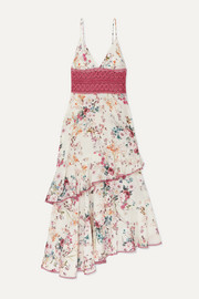 Charo Ruiz Noa crocheted lace and floral-print cotton-blend voile dress