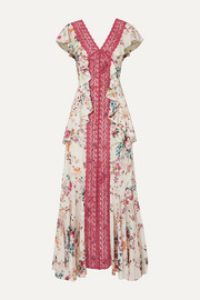 Charo Ruiz Lola ruffled crocheted lace and floral-print voile maxi dress