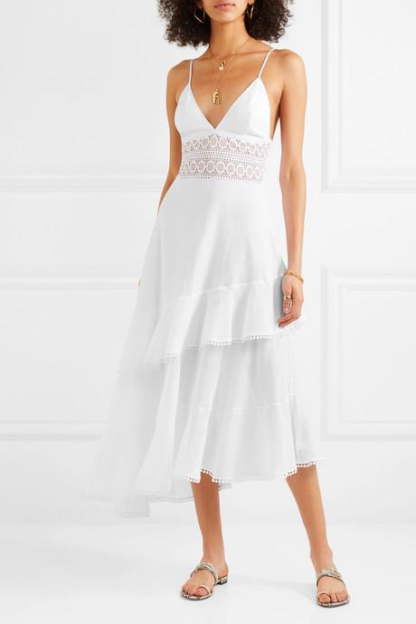 Noa asymmetric crocheted lace-paneled cotton-blend voile dress