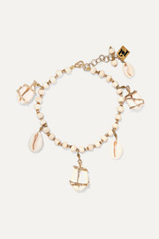 Gold-tone shell anklet