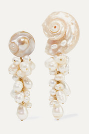 Anita Berisha Mermaid shell and pearl earrings