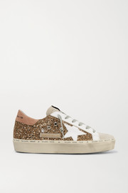 Hi Star distressed glittered leather and suede sneakers