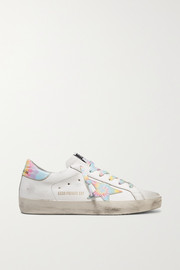 Superstar distressed tie-dyed leather sneakers