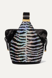 Kit mini satin-trimmed sequined velvet bucket bag
