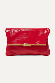 PM glossed textured-leather clutch