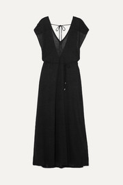 Ninety Percent Belted linen-jersey maxi dress