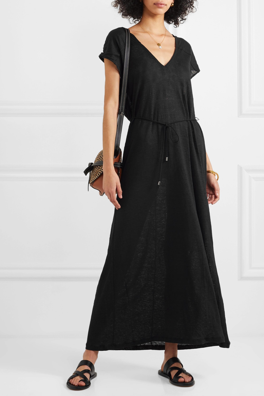 Ninety Percent Belted linen-jersey maxi dress