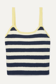 Capo striped crocheted cotton tank