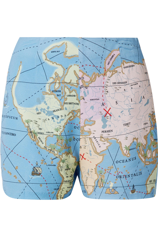 STAUD Cod printed crepe de chine shorts