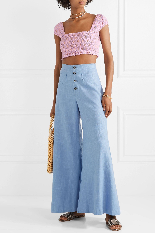 STAUD Martin linen-blend wide-leg pants