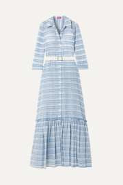 STAUD Rose belted checked organza maxi dress