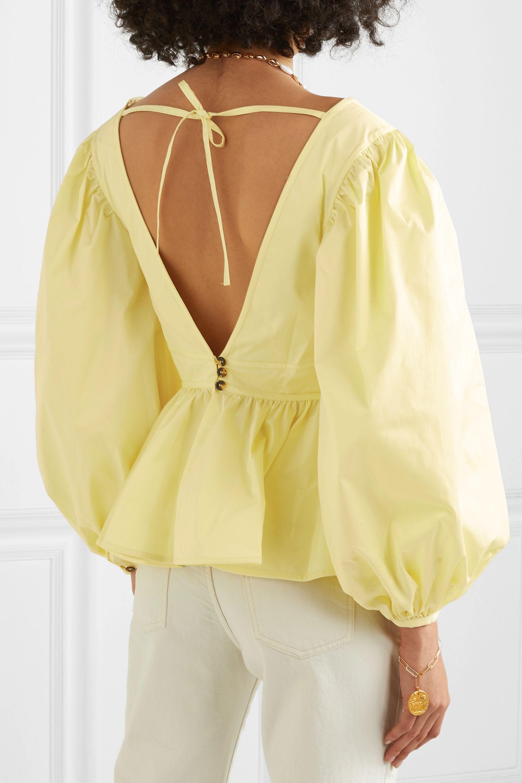 STAUD Luna ruffled cotton-blend poplin blouse