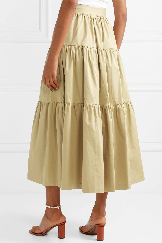 STAUD Sea tiered stretch-cotton poplin midi skirt
