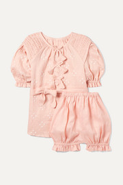 Smocked embroidered linen dress and bloomers set