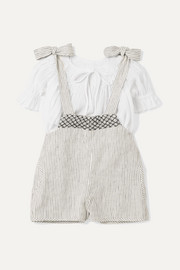 Smocked striped linen dungarees and cotton top set