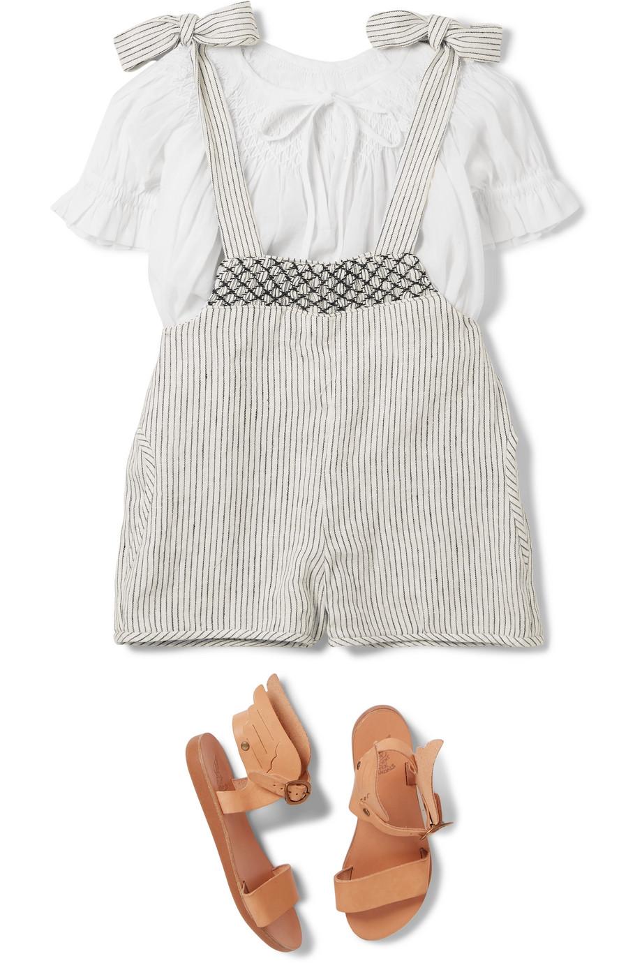 Innika Choo Kids 皱褶装饰条纹亚麻背带裤和纯棉上衣套装