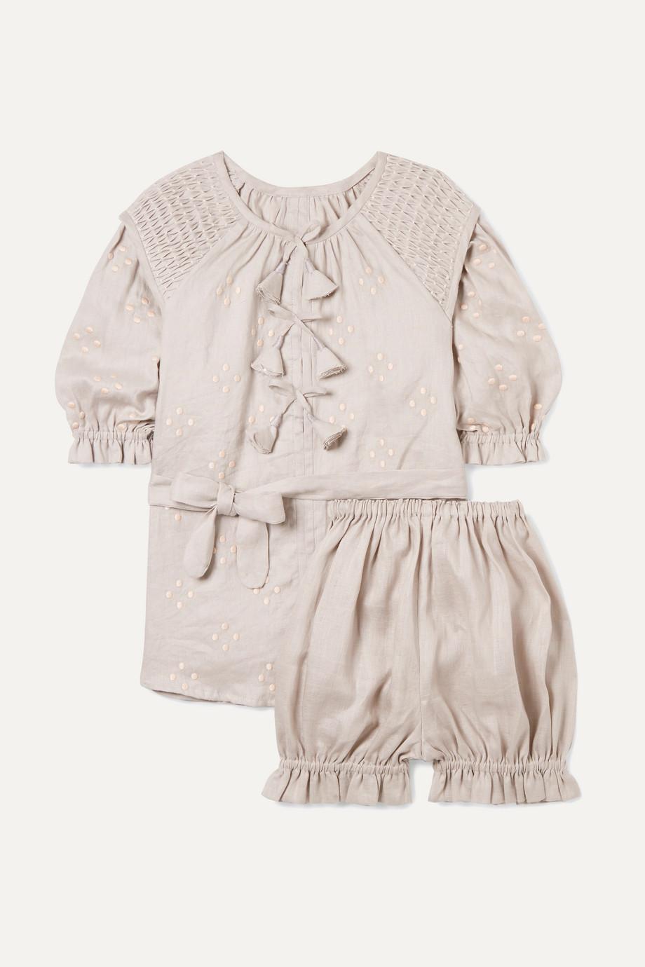 Innika Choo Kids Smocked embroidered linen dress and bloomers set