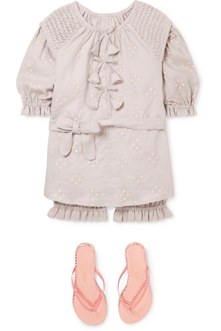 Innika Choo Kids 皱褶装饰刺绣亚麻连衣裙灯笼裤套装