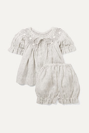 Smocked striped linen blouse and shorts set