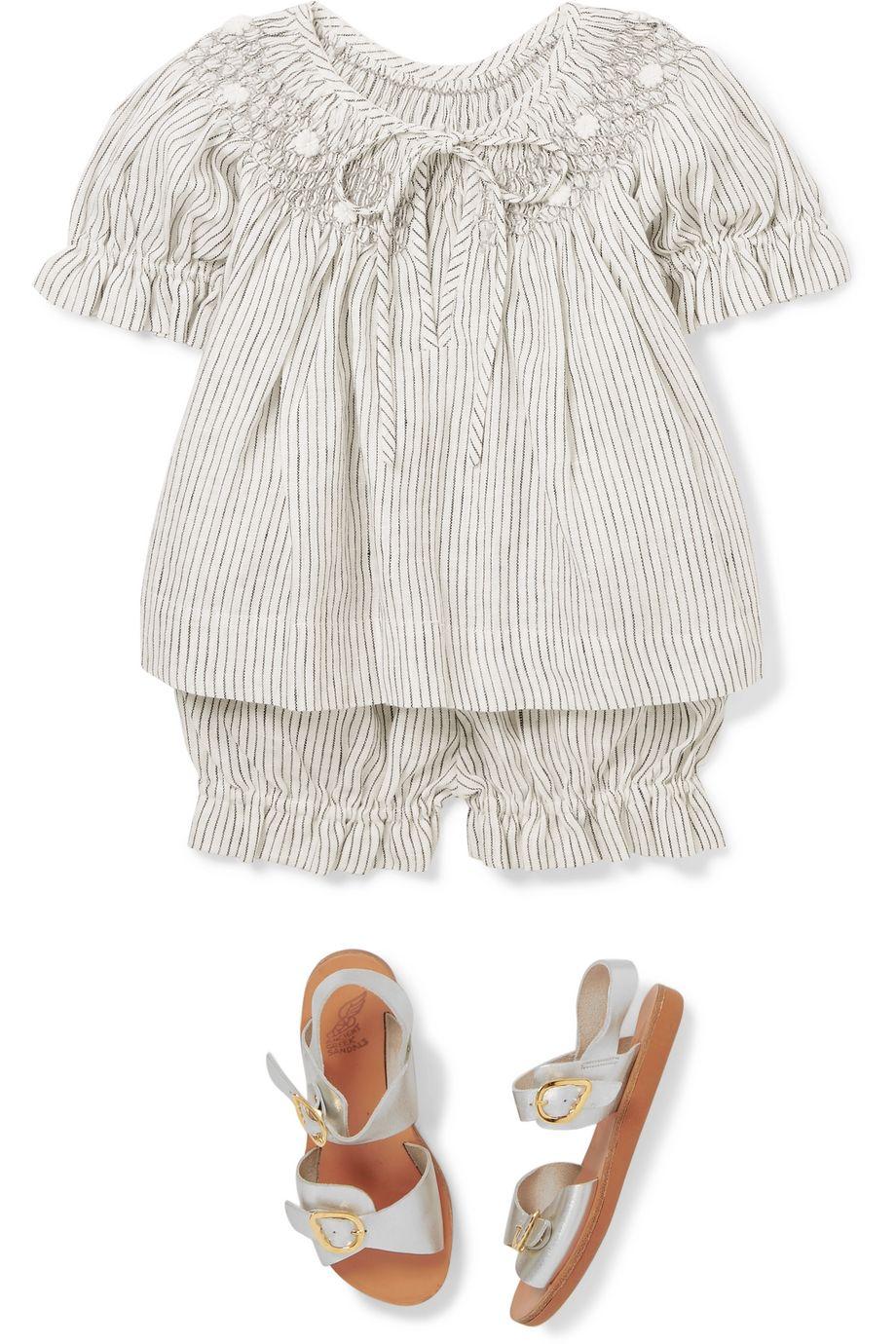 Innika Choo Kids Smocked striped linen blouse and shorts set