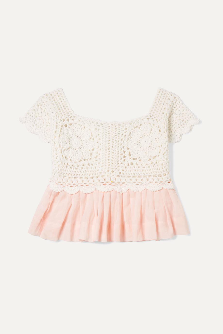 Innika Choo Kids Crocheted cotton and ramie top
