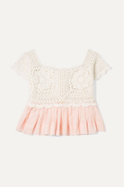 Crocheted cotton and ramie top