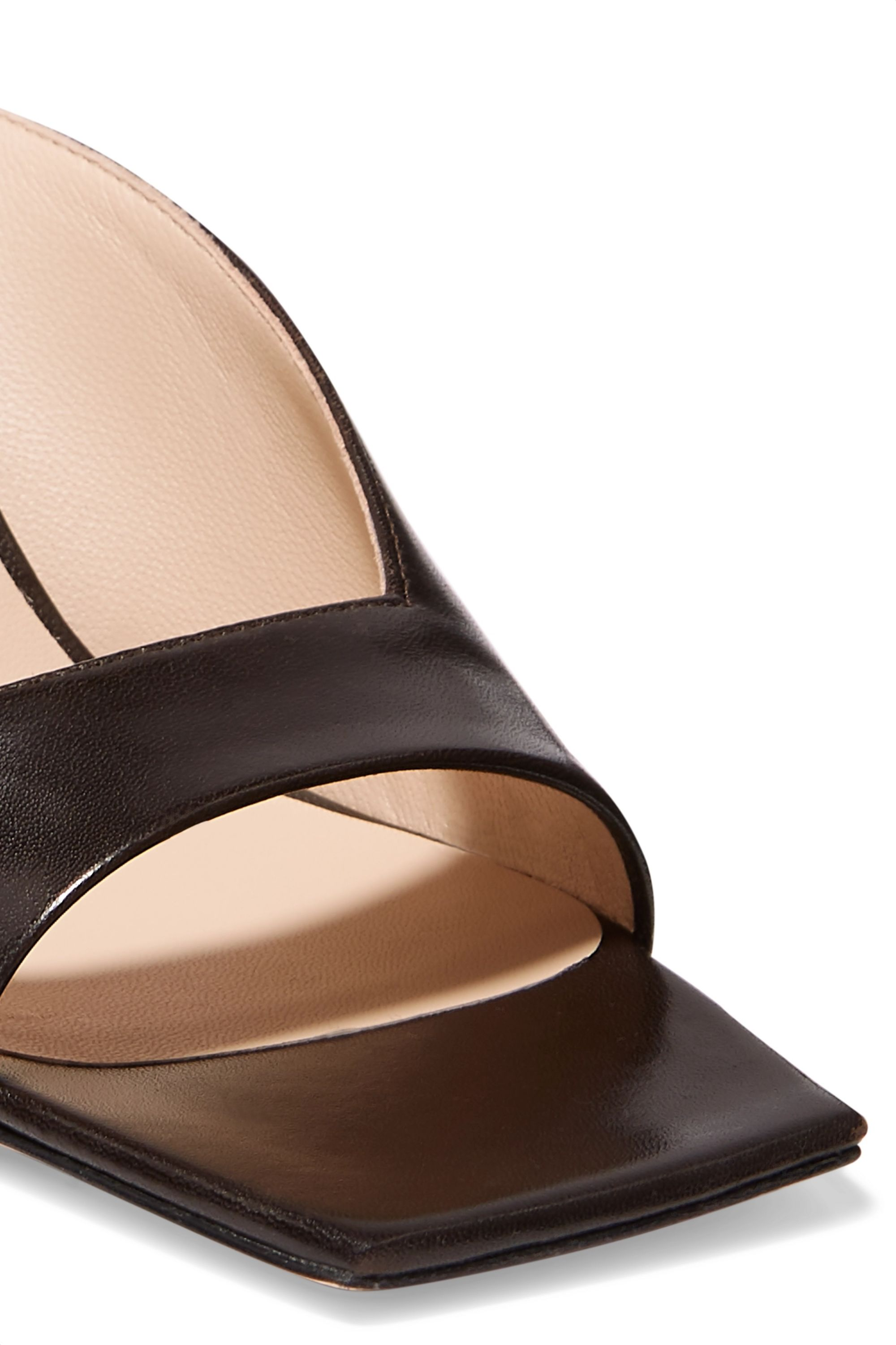 Wandler Isa smooth and snake-effect leather mules