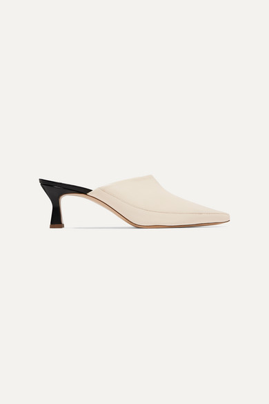 WANDLER | Wandler - Bente Two-Tone Textured-Leather Mules - Off-White | Goxip