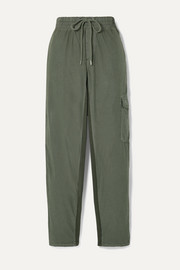 James Perse Cropped crinkled cotton-blend poplin track pants