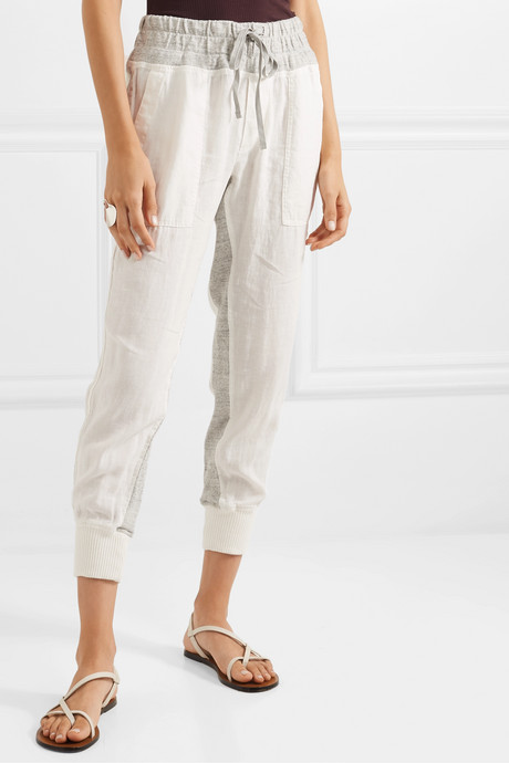 Mixed Media linen and mélange cotton-jersey track pants