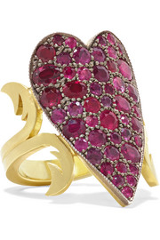 18-karat gold, sterling silver and ruby ring