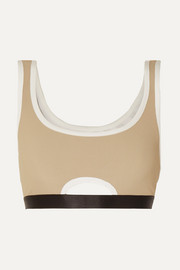 Crescent cutout ribbed stretch-jersey sports bra