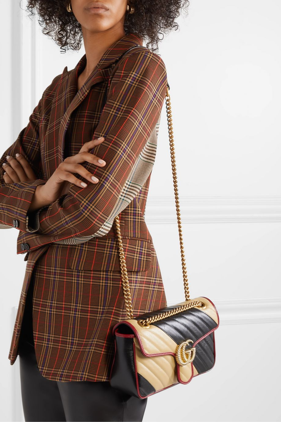 Gucci GG Marmont small color-block quilted leather shoulder bag