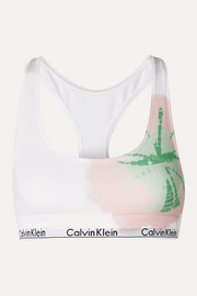 Modern Cotton tie-dyed stretch cotton and modal-blend soft-cup bra