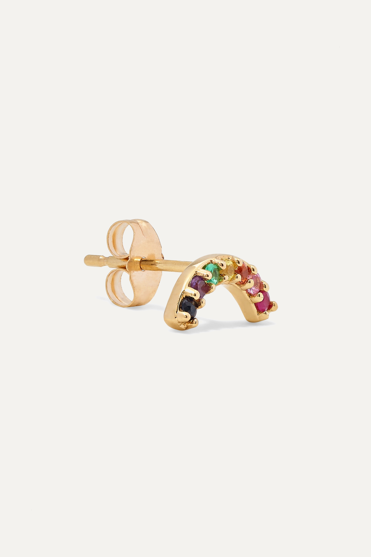 Andrea Fohrman Single Row Rainbow 14-karat gold multi-stone earring