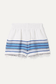 LemLem Kids Welela frayed striped cotton-blend gauze shorts