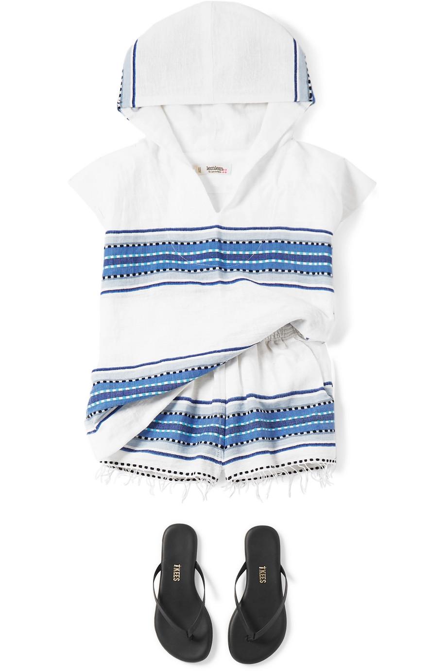 LemLem Kids Welela frayed striped cotton-blend gauze shorts