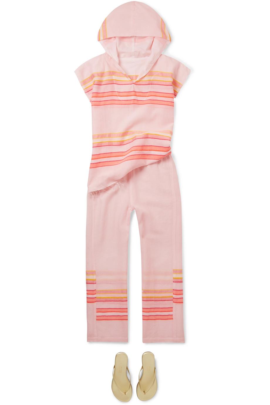 LemLem Kids Eskedar frayed striped cotton-blend gauze poncho